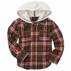 Button-Front Flannel Hooded Shirt