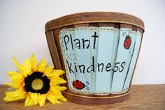 Bushel+basket+garden+decor+Hand+painted+flower+by+Ramshackles