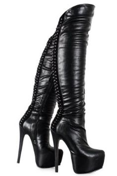 Ladies Studded Over The Knee Thigh High Platform Stiletto Heel Boots Women Shoes Thigh High Boots, High Heel Boots, Heeled Boots, Bootie Boots, Platform High Heels, Black High Heels, Black Platform, Talons Sexy, Stiletto Heels