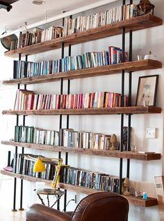 Reclaimed Wood Bookcase, Wood Bookshelves, Pipe Bookshelf, Book Shelves, Bookshelf Ideas, Pipe Shelving, Handmade Bookshelves, Crate Bookshelf, Bookshelf Plans