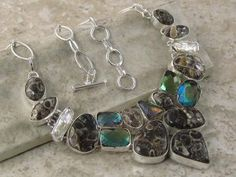 Multi Gemstone Necklace Mystic Quartz, Pearl, Fossil http://jewelrygemstone.ecrater.com/p/15263181/multi-gemstone-necklace-mystic-quartz