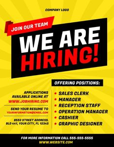 Business Flyers, We Are Hiring, Join Our Team, Operations Management, Company Logo