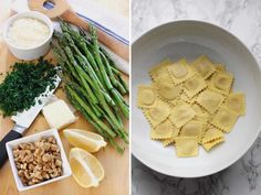 This easy ravioli dish with sautéed asparagus and walnuts is tossed in a light and flavorful butter lemon sauce. A quick and delicious dinner that only takes 15 minutes to make. Easy Pasta Salad Recipe, Pasta Recipes, Cooking Recipes, Dinner Recipes, Saute Asparagus, Asparagus Recipe, Vegetarian Recipes Easy, Healthy Recipes, Vegetarian Soup