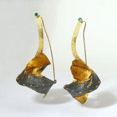 Studio Numen - Earrings - Folded Orchid - 22K gold, sterling silver,18K, 14K, emeralds