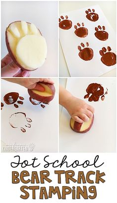 Fun and easy Bear Track Stamping with a paw shape potato stamper. Perfect for to… Fun and easy Bear Track Stamping with a paw shape potato stamper. Perfect for tot school, preschool, or the kindergarten classroom. Bears Preschool, Preschool Themes, Preschool Activities, Preschool Camping Theme, Outdoor Activities For Preschoolers, Camping Theme Crafts, Fairy Tale Activities, Toddler Crafts, Toddler Activities