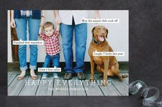Love this unique card with the conversation bubbles to give a super-quick update about each person.  You can drag them around on your photo so they're in the perfect spot--fun!  #cards #christmas #holiday