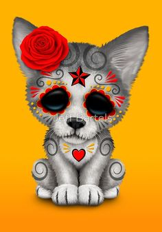 Red Day of the Dead Sugar Skull Wolf Cub | Art Print