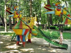 Khmelnytskyi, Ukraine - Khmelnytskyi City Playground. unusually fanciful structures in this playground resemble creative, imaginative creatures out of an Eastern European fantasy tale.