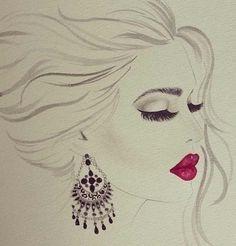 earring , red lips, beauty