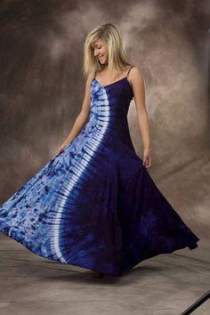 Long Spaghetti Strap Tie Dye Dress - Oooh la la!!