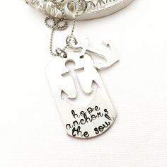 Hope Anchors the Soul dog tag necklace - Hand Stamped Necklace - Stamped Jewelry - Anchor Jewelry - Bible Anchor - Gift for Mom - Valentines