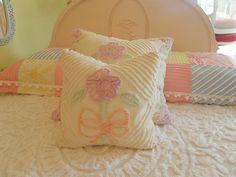 down pillow vintage chenille bedspread 14x14 white shabby chic prairie cottage. $49.00, via Etsy.