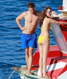 Christian checking out his wife  ... . Jamie Dornan and Dakota Johnson filming Fifty Shades Freed honeymoon