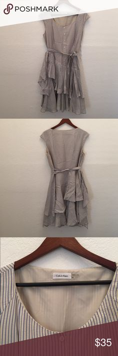 Calvin Klein stripe dress Beautiful dress with the stripes and ruffle detail Calvin Klein Dresses