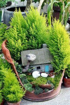 Fairy garden...in a cracked pot