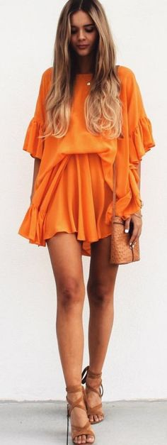 #summer #musthave #outfits | Orange Summer Little Dress