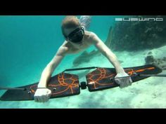 Subwing – Carbon Fiber Wing For Underwater Flying [Video] - Fancy some underwater flying? The Subwing is one of the coolest inventions to date if you want to see and experience the subaquatic wildlife. Under The Water, Bmx, Hang Gliding, Kayak, Water Toys, Wakeboarding, Extreme Sports, Gliders, Water Sports