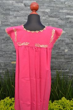 Chiapas Flowered Dress Huipil Dress Mexican Dress   Etsy Mexican Skirts, Mexican Embroidered Dress, Flower Shirt, Ethnic Dress, Handmade Clothes, Flower Dresses, Cotton Dresses, Pink Dress, Short Dresses