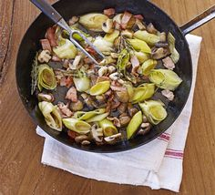 A delicious, versatile side dish of sweet braised leeks and crispy bacon - great with a Sunday roast