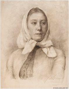 Pekka Halonen (1865-1933) Talonpoikaistyttö. Huivipäinen nuori nainen / Peasant girl. Scarf-headed young woman 1889 - Finland