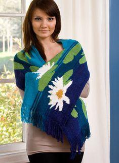 Lilypad Shawl Intarsia Knitting Pattern