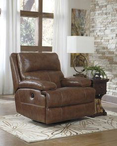 Shop Lensar Nutmeg Leather Swivel Power Rocker Recliner with great price, The Classy Home Furniture has the best selection of to choose from Living Room Designs, Living Room Decor, At Home Furniture Store, Chair, Recliners, Home Decor, Minimalist Living, Signature Design, Man Cave