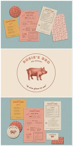 restaurant layout restaurant layout Rosies BBQ brand design by Kendra Lebo Logo Design, Web Design, Brand Identity Design, Graphic Design Branding, Graphic Design Posters, Corporate Design, Graphic Design Inspiration, Typography Design, Print Design