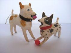 Vintage Inspired Spun Cotton Terrier Dogs Miniature ornament Maria Pahls
