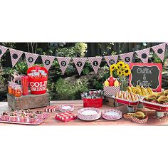 Get the party started! Find everything you need on your shopping list, whether you browse online or at one of our party stores, at an affordable price. Soirée Bbq, Barbecue Party, Summer Barbecue, Gingham Party, Red Gingham, Barbacoa, Baby Q Shower, Man Shower, Summer Party Themes