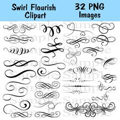 Swirl Flourishes No.5 Wedding Clipart INSTANT by BridalBust