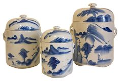 Vintage Blue & White Porcelain Containers
