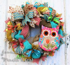 Summer Wreath, Spring Wreath, Door Decor, Little Girl Wreath, Burlap, Jute Mesh Wreath, Owl Decor, Turquoise, Pink, Lime by JennaBelles on Etsy https://www.etsy.com/listing/271848126/summer-wreath-spring-wreath-door-decor