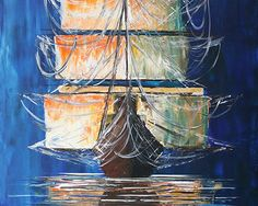 Arleta Adamska, Majestatyczny statek, 100x70 cm, aadamska.pl