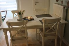 country style dining table - Google Search Ikea ingatorp and ingolf chairs