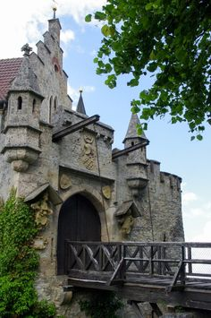 the Barbican and drawbridge of the Lichtenstein Castle - visited during a road trips in Germany - learn more on roadtripsaroundtheworld.com