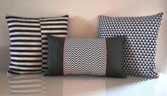 """""""Housses de coussin, Coussin chevrons est une création orginale de HelloBirdie sur DaWanda Cute Pillows, Throw Pillows, Sewing Pillows, Pillow Design, Home Gifts, Decoration, Decorative Pillows, Upholstery, Poufs"""