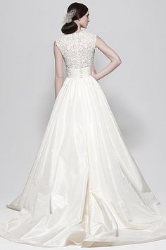 I love that this is a ball gown with the traditional lace top. Perfection! (Watters Brides - Escalante Gown)