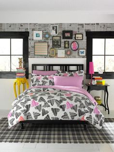 Rustic Vogue Bedding Design In Nice Girl Bedroom Interior With Striped Rug Under The Bed Along With Frame On The Wall Between Small Glass Window Vogue Bedding with Colorful Ideas for Teenage Girl Rooms Bedroom design http://seekayem.com