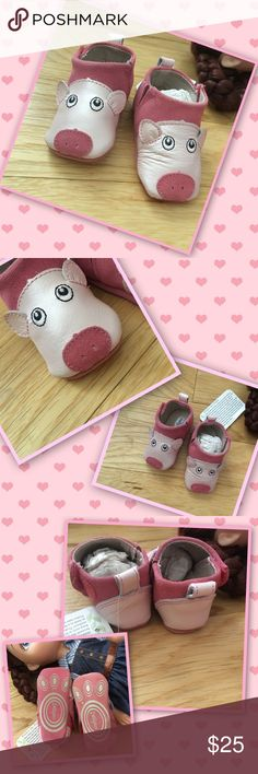 Little 🐷 Piggy Lighthearted spirit of Pinkie the piglet booties.  Crafted  with leather and suede upper that is soft and durable. Gripper pad bottoms for traction and stretch elastic system for a snug comfy fit. They're so cutesy! Shoes Baby & Walker