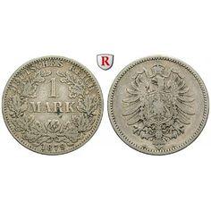 Deutsches Kaiserreich, 1 Mark 1879, A, f.ss, J. 9: 1 Mark 1879 A. J. 9; fast sehr schön 80,00€ #coins