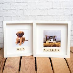 PERSONALISED PET PHOTO FRAME - YOUR DOG or CAT NAME ADDED WITH SCRABBLE TILES