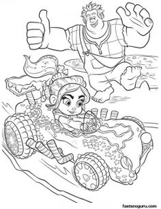 Printable Wreck-It Ralph cheering for Vanellope coloring page - Printable Coloring Pages For Kids