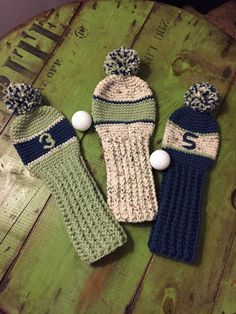 Crochet golf club covers set of 3 by HooknChain on Etsy