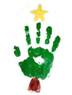 christmas tree handprint or could be foot print Handprint Christmas Tree, Preschool Christmas, Toddler Christmas, Christmas Crafts For Kids, Christmas Activities, Christmas Themes, Holiday Crafts, Christmas Holidays, Tree Handprint
