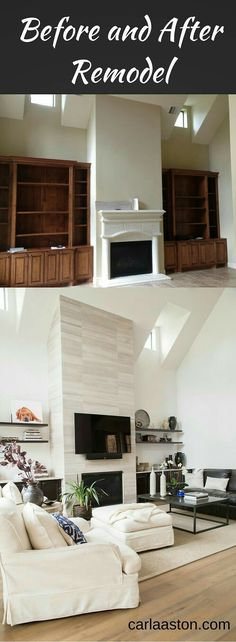 Before & after  fireplace built ins remodel #NiceSave