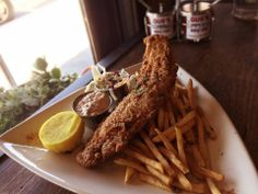 Cajun Fried Catfish and Chips! #cajun Gus's BBQ. South Pasadena, CA. Concept by Bicos Hospitality.