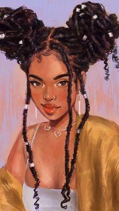 Art Black Love, Black Girl Art, Black Cartoon Characters, Black Girl Cartoon, Drawings Of Black Girls, Black Art Painting, Afro Painting, Black Art Pictures, Black Girl Aesthetic