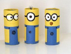 Watch something ordinary turn into a bunch of adorable little minions. Cardboard Tube Minion Crafts transform toilet tubes into the cutest toilet paper roll crafts ever witnessed. Despicable Me minions are kid favorites. Recycled Crafts Kids, Fun Diy Crafts, New Crafts, Easy Crafts For Kids, Diy For Kids, Crafts To Make, Arts And Crafts, Creative Crafts, Cardboard Tube Crafts
