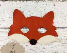Le renard roux feutre masque, masque de créature des bois, masque pour enfants