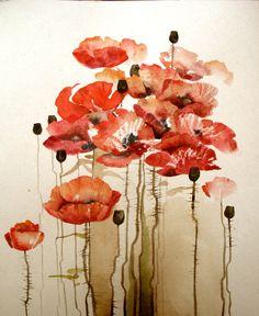 Watercolor Original Painting Art 24x30 cm (9.4x11.2 inch) Red Bloom